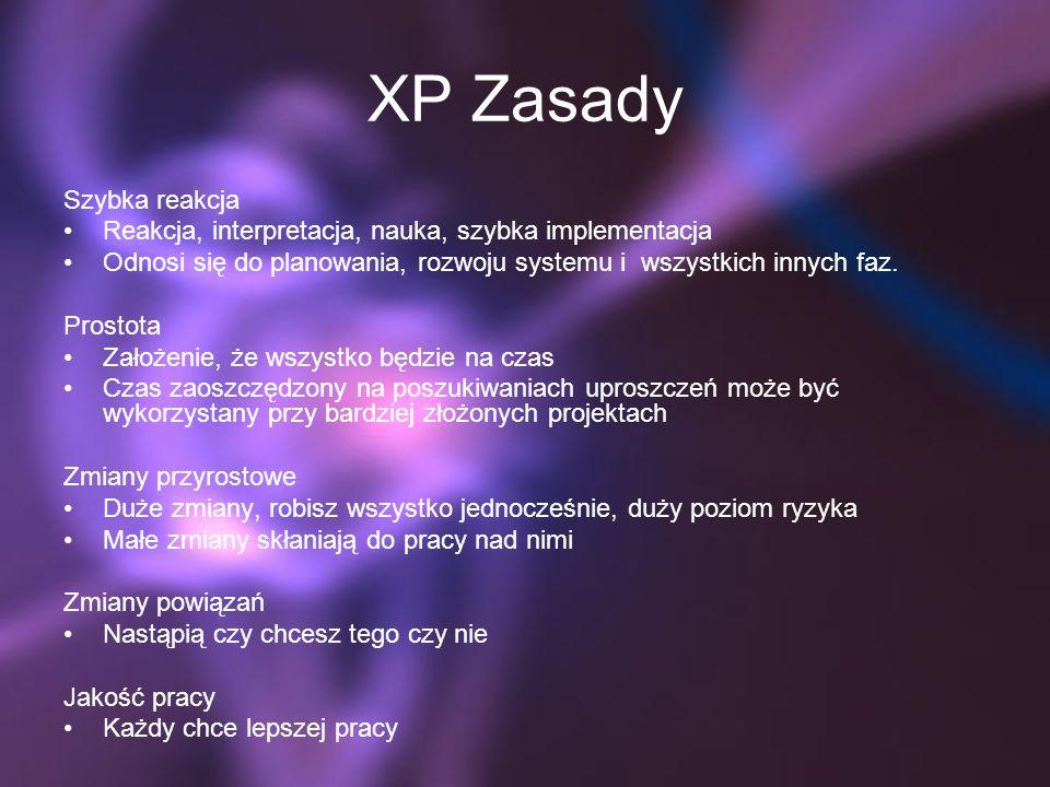 XP Zasady Szybka reakcja Reakcja, interpretacja, nauka, szybka implementacja Odnosi się do planowania, rozwoju systemu i wszystkich innych faz. Prosto