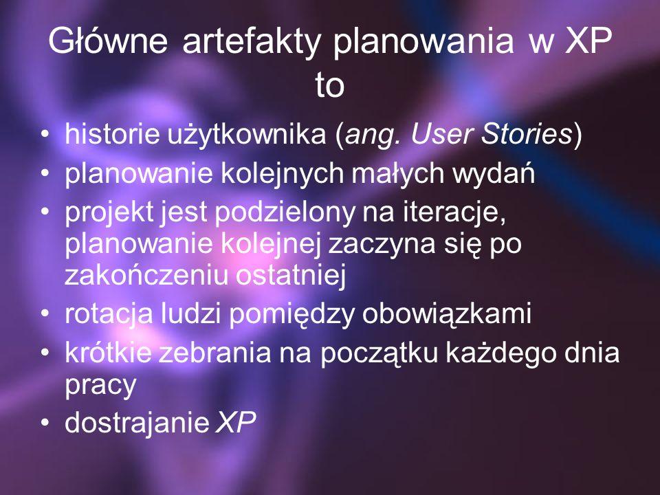 Główne artefakty planowania w XP to historie użytkownika (ang. User Stories) planowanie kolejnych małych wydań projekt jest podzielony na iteracje, pl