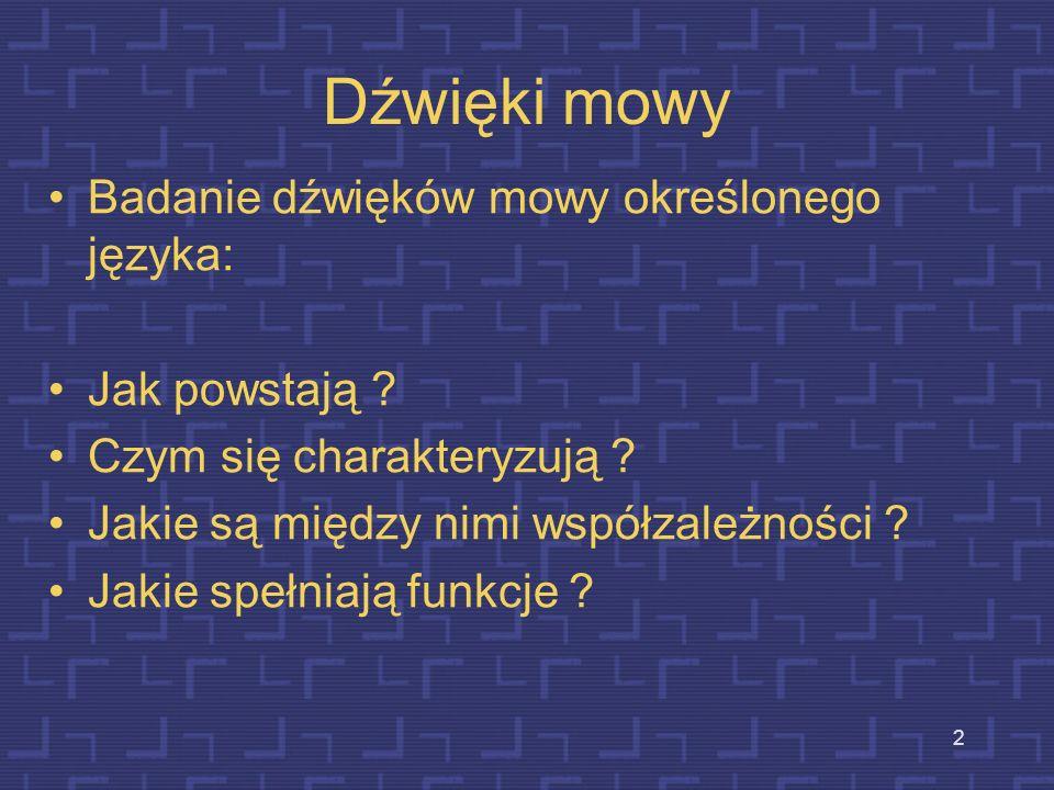 2 Dźwięki mowy Badanie dźwięków mowy określonego języka: Jak powstają .