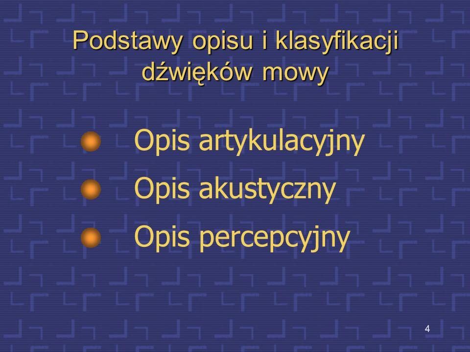 4 Podstawy opisu i klasyfikacji dźwięków mowy Opis artykulacyjny Opis akustyczny Opis percepcyjny
