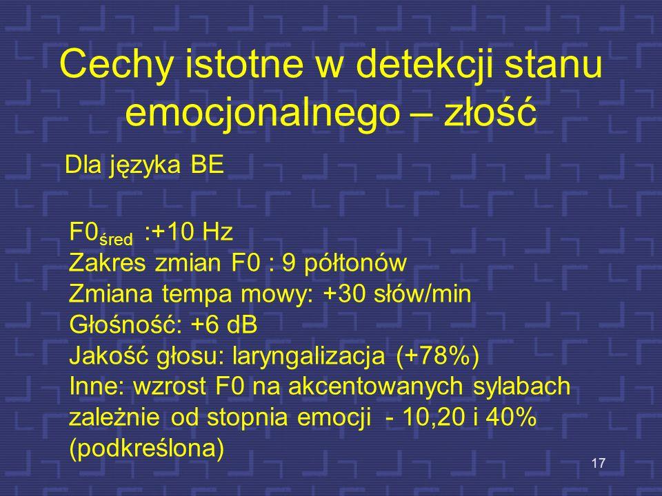 Udział cech mowy w detekcji stanu emocjonalnego - radość 16 F0 śred :+50% Zakres zmian F0 :+100% Tempo : +30% Jakość głosu = normalny lub napięty, wsk
