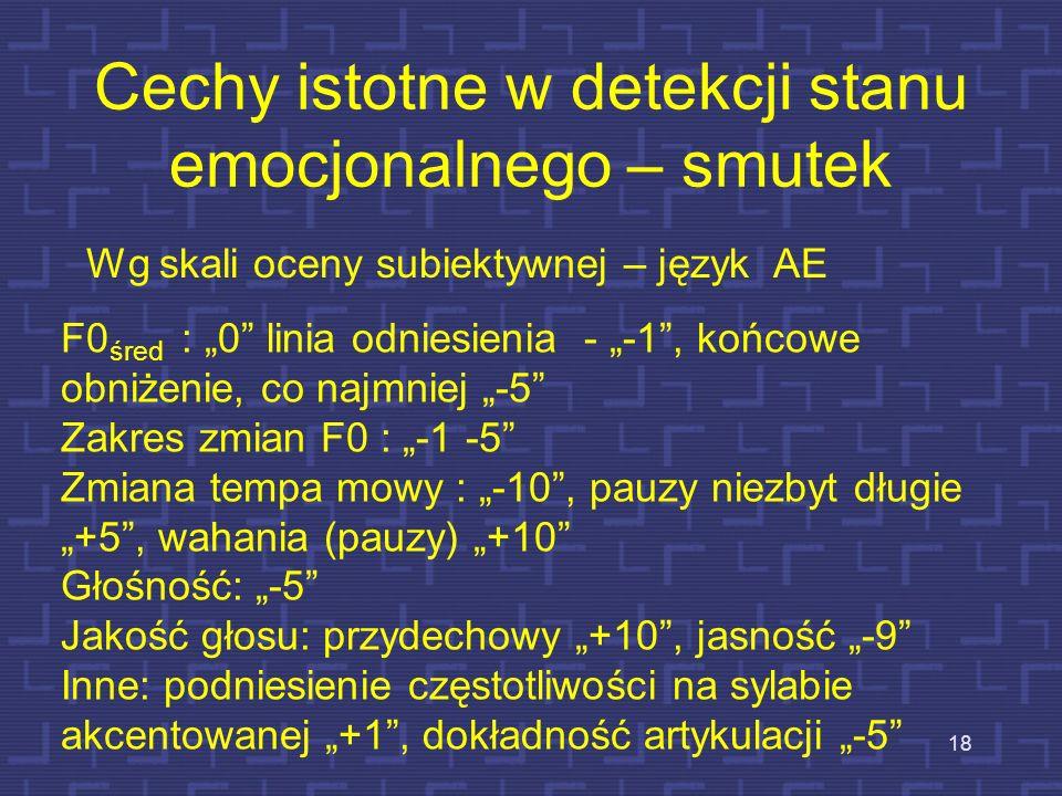 Cechy istotne w detekcji stanu emocjonalnego – złość 17 Dla języka BE F0 śred :+10 Hz Zakres zmian F0 : 9 półtonów Zmiana tempa mowy: +30 słów/min Gło