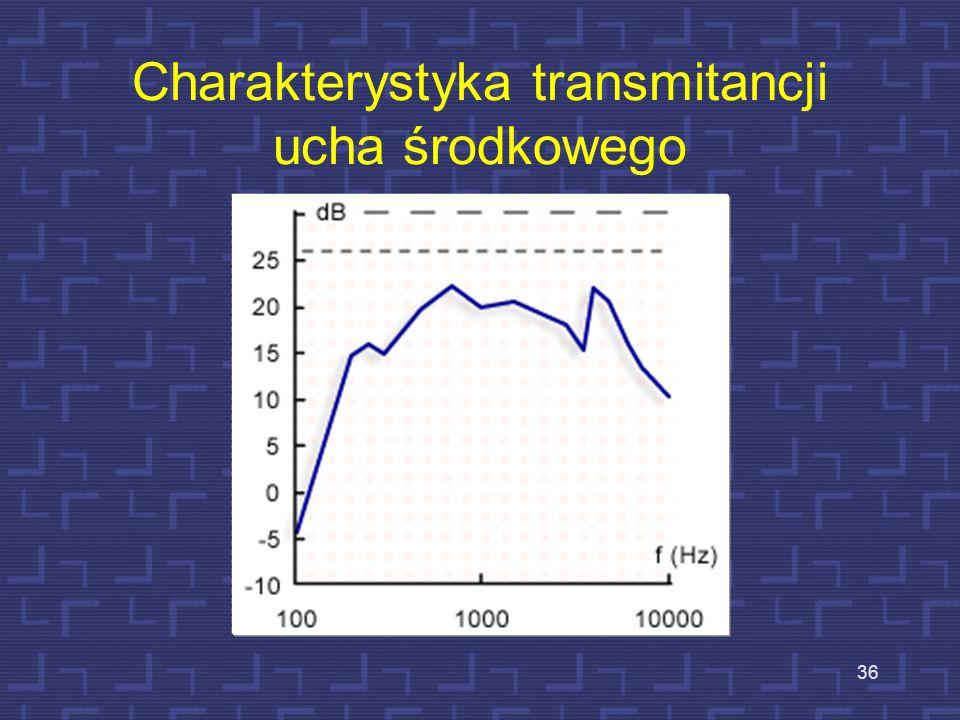 Wzmocnienie w uchu środkowym 35 Występują tu dwa efekty – efekt wzmocnienia tłokowego (S 1 /S 2 ) 20. S 1 = 0.6 cm 2 Efekt dźwigni (kosteczki) - d1/d2