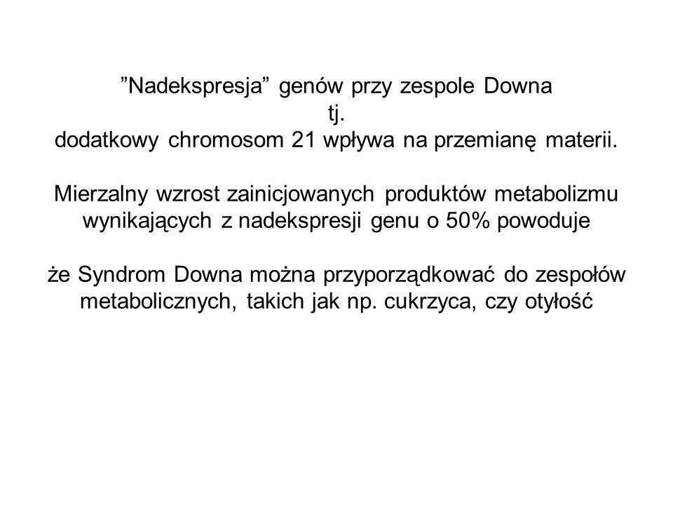 Nadekspresja genów przy zespole Downa tj. dodatkowy chromosom 21 wpływa na przemianę materii. Mierzalny wzrost zainicjowanych produktów metabolizmu wy