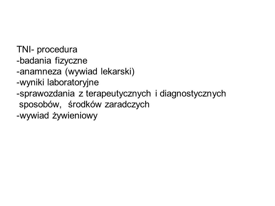 TNI- procedura -badania fizyczne -anamneza (wywiad lekarski) -wyniki laboratoryjne -sprawozdania z terapeutycznych i diagnostycznych sposobów, środków