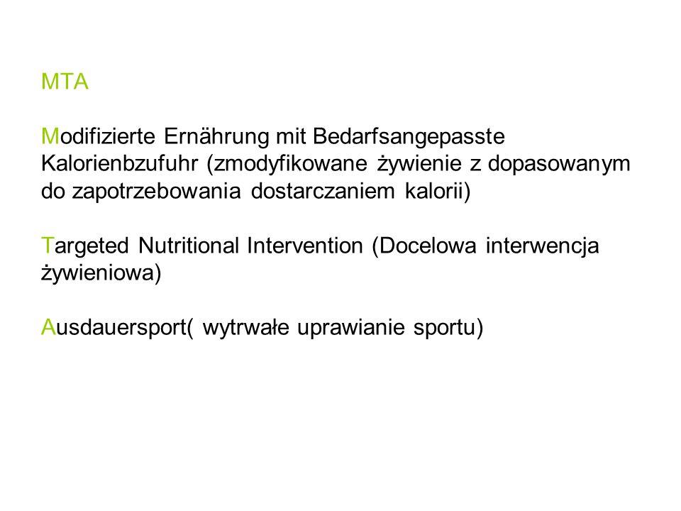 MTA Modifizierte Ernährung mit Bedarfsangepasste Kalorienbzufuhr (zmodyfikowane żywienie z dopasowanym do zapotrzebowania dostarczaniem kalorii) Targe
