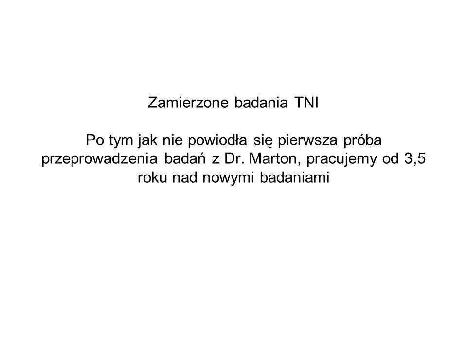 Zamierzone badania TNI Po tym jak nie powiodła się pierwsza próba przeprowadzenia badań z Dr. Marton, pracujemy od 3,5 roku nad nowymi badaniami
