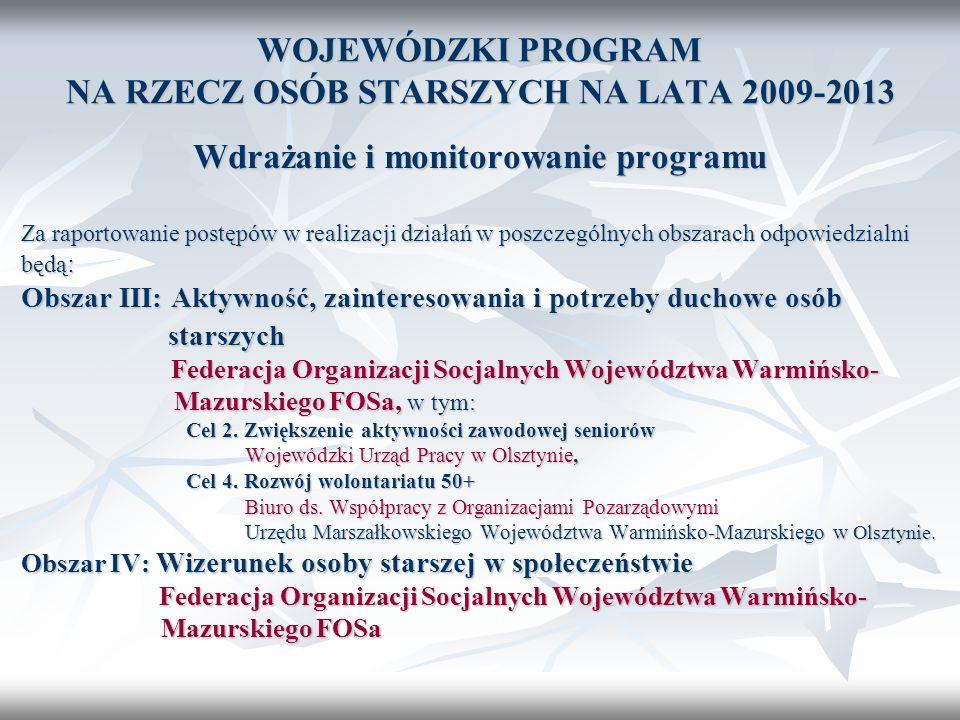 WOJEWÓDZKI PROGRAM NA RZECZ OSÓB STARSZYCH NA LATA 2009-2013 Wdrażanie i monitorowanie programu Za raportowanie postępów w realizacji działań w poszcz
