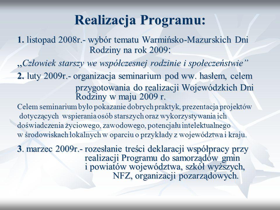 Realizacja Programu: 1. listopad 2008r.- wybór tematu Warmińsko-Mazurskich Dni Rodziny na rok 2009 : Człowiek starszy we współczesnej rodzinie i społe