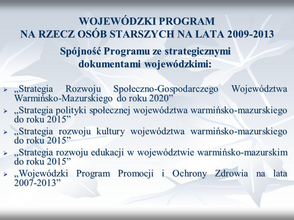 WOJEWÓDZKI PROGRAM NA RZECZ OSÓB STARSZYCH NA LATA 2009-2013 Spójność Programu ze strategicznymi dokumentami wojewódzkimi: Strategia Rozwoju Społeczno