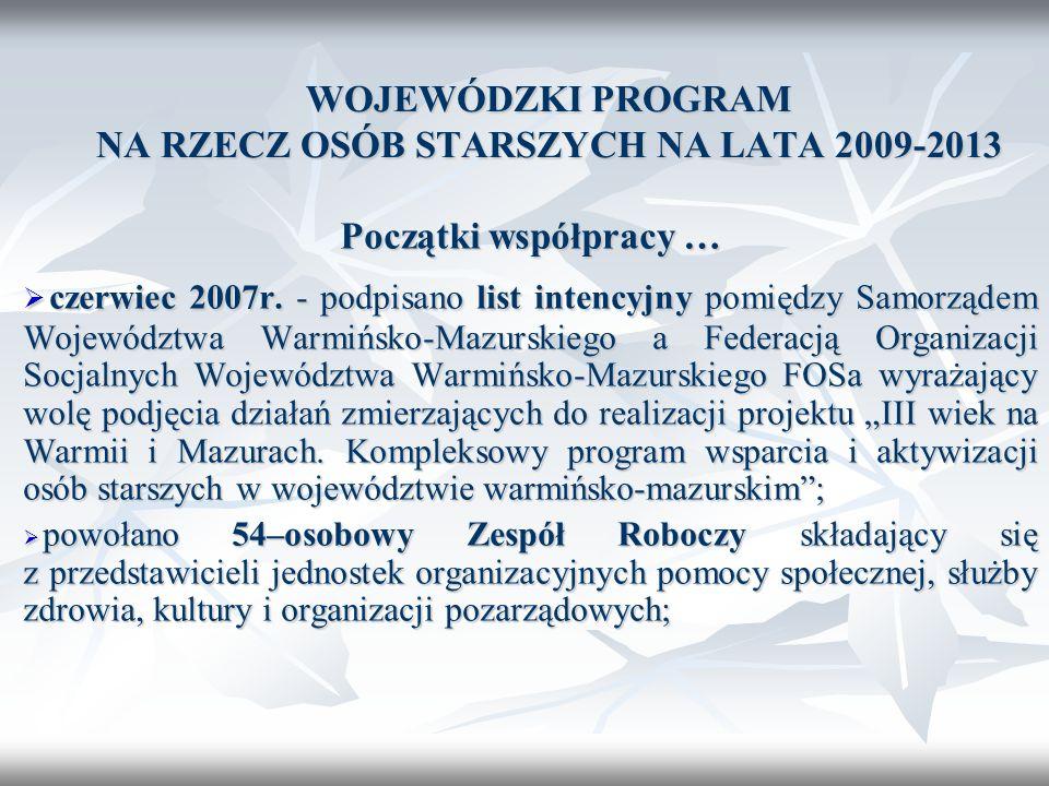 WOJEWÓDZKI PROGRAM NA RZECZ OSÓB STARSZYCH NA LATA 2009-2013 Początki współpracy … czerwiec 2007r. - podpisano list intencyjny pomiędzy Samorządem Woj