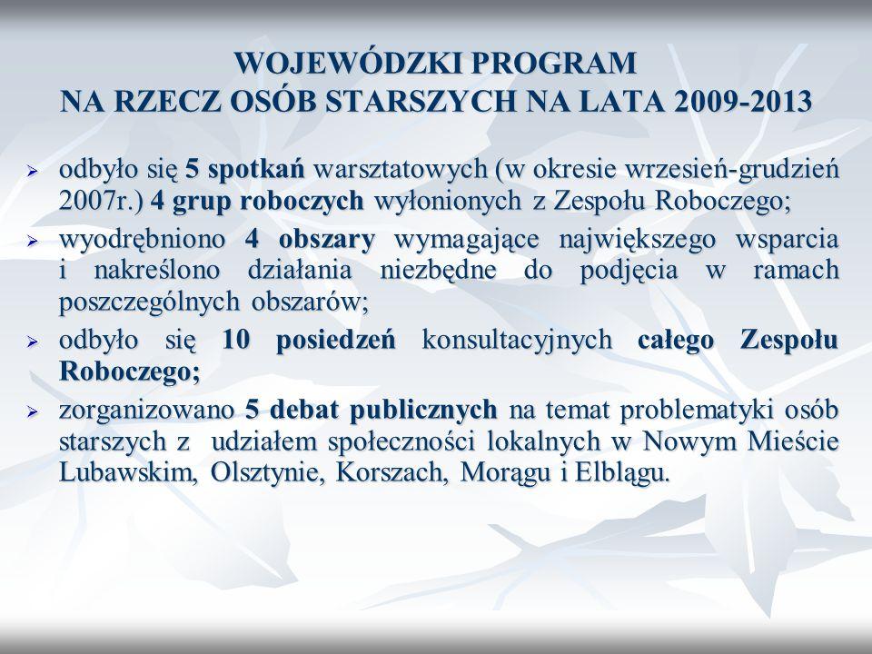 WOJEWÓDZKI PROGRAM NA RZECZ OSÓB STARSZYCH NA LATA 2009-2013 odbyło się 5 spotkań warsztatowych (w okresie wrzesień-grudzień 2007r.) 4 grup roboczych