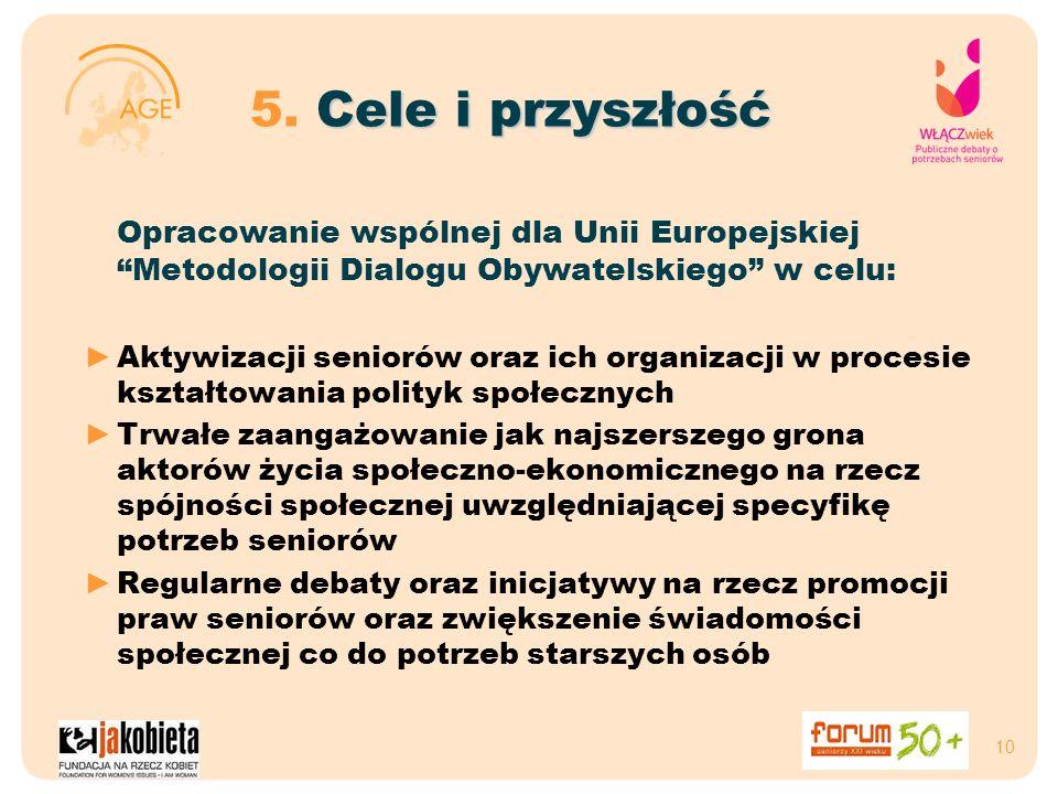 10 Cele i przyszłość 5. Cele i przyszłość Opracowanie wspólnej dla Unii Europejskiej Metodologii Dialogu Obywatelskiego w celu: Aktywizacji seniorów o