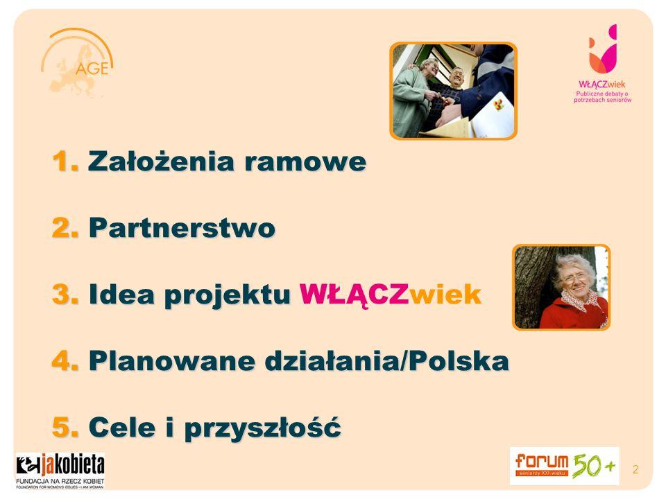 2 1. Założenia ramowe 2. Partnerstwo 3. Idea projektu 3. Idea projektu WŁĄCZwiek 4. Planowane działania/Polska 5. Cele i przyszłość