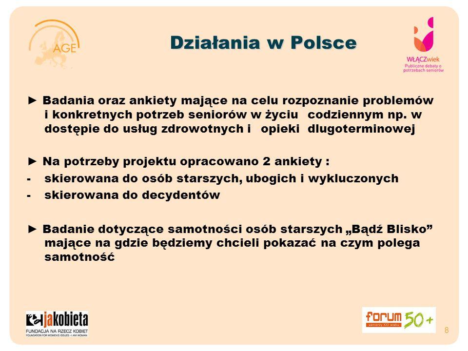 Działania w Polsce Badania oraz ankiety mające na celu rozpoznanie problemów i konkretnych potrzeb seniorów w życiu codziennym np. w dostępie do usług