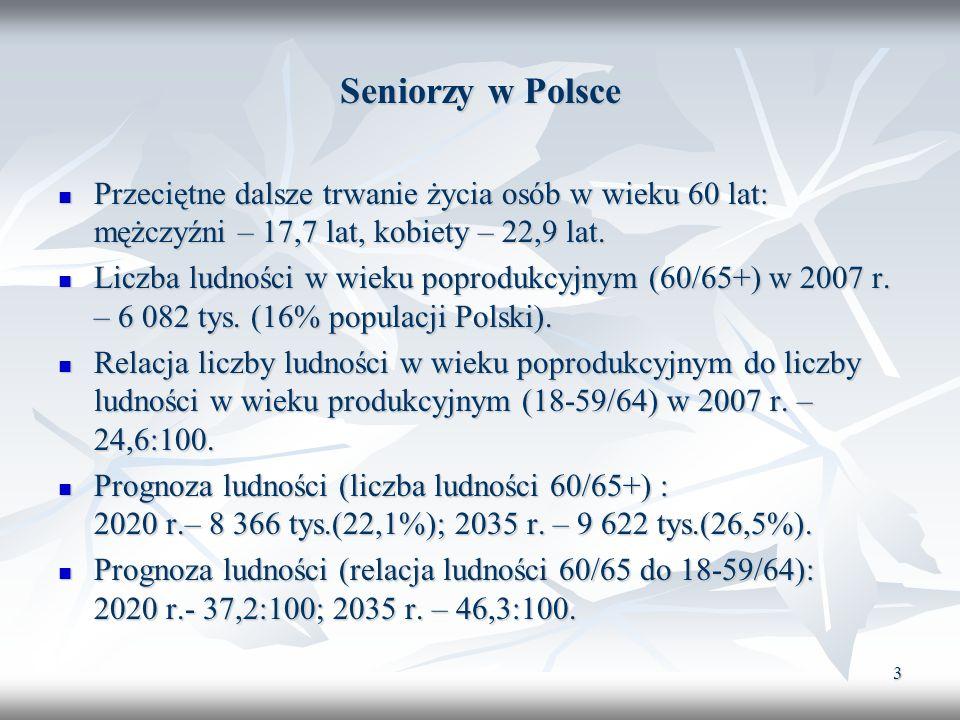 3 Seniorzy w Polsce Przeciętne dalsze trwanie życia osób w wieku 60 lat: mężczyźni – 17,7 lat, kobiety – 22,9 lat. Przeciętne dalsze trwanie życia osó