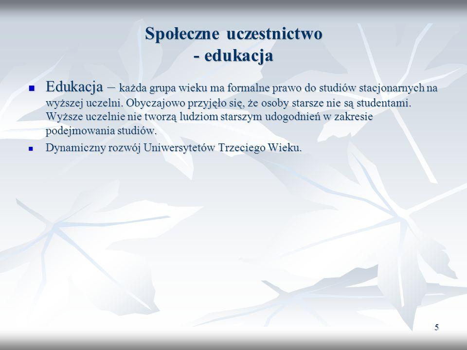 6 Społeczne uczestnictwo Udział w życiu publicznym Badania Polskiego Towarzystwa Gerontologicznego z 2000 r.
