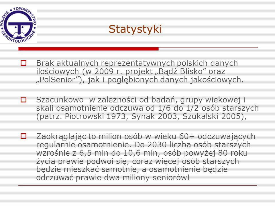 Statystyki Brak aktualnych reprezentatywnych polskich danych ilościowych (w 2009 r. projekt Bądź Blisko oraz PolSenior), jak i pogłębionych danych jak