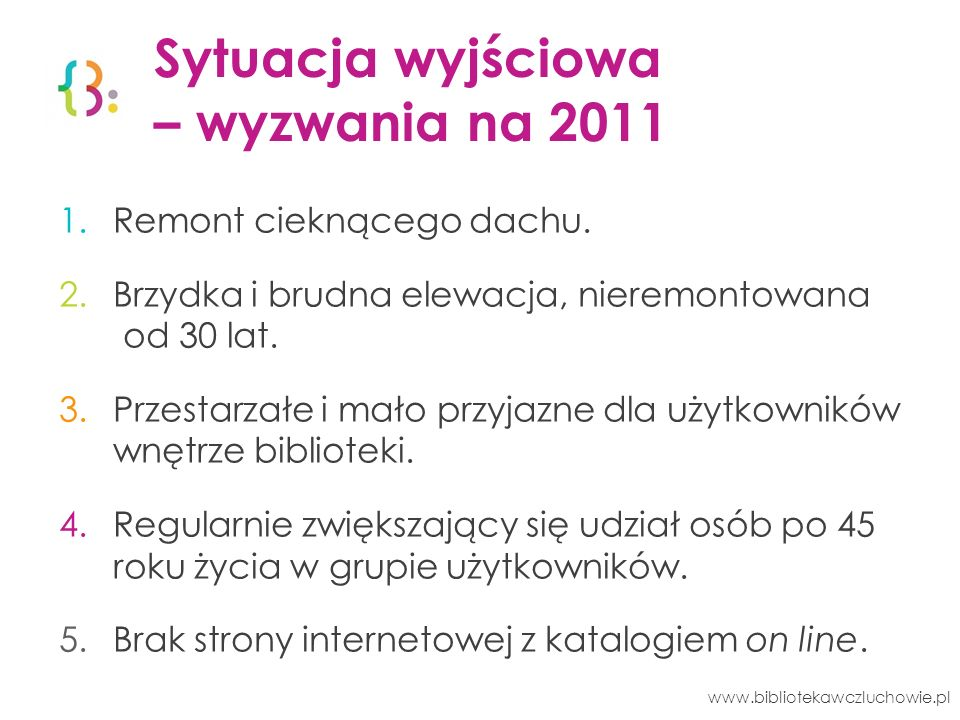 Wiedza 114 372 wypożyczeń www.bibliotekawczluchowie.pl 3 453 użytkowników 85 688 wypożyczeń 28 684 udostępnień w czytelni 101 752 książek 1 117 czasopism 3 064 zakupione nowości