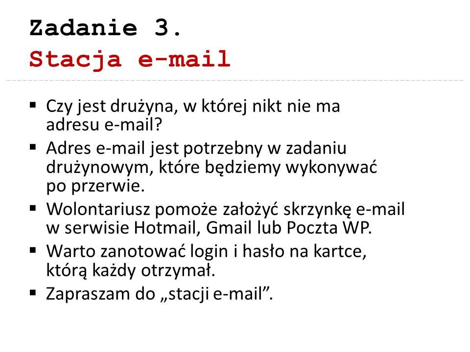 Zadanie 3. Stacja e-mail Czy jest drużyna, w której nikt nie ma adresu e-mail? Adres e-mail jest potrzebny w zadaniu drużynowym, które będziemy wykony