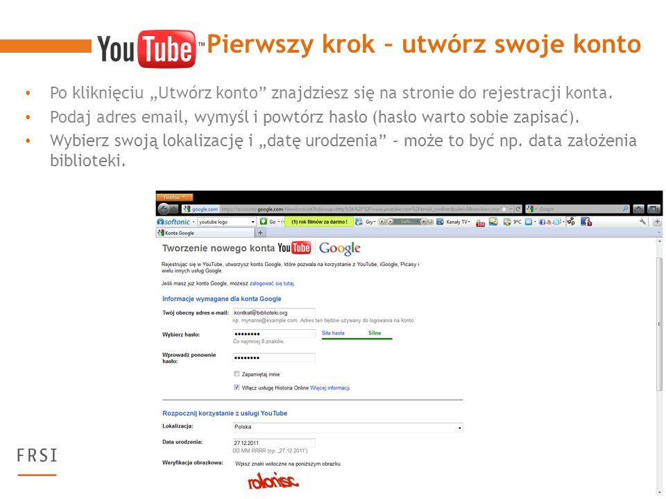 Po kliknięciu Utwórz konto znajdziesz się na stronie do rejestracji konta.