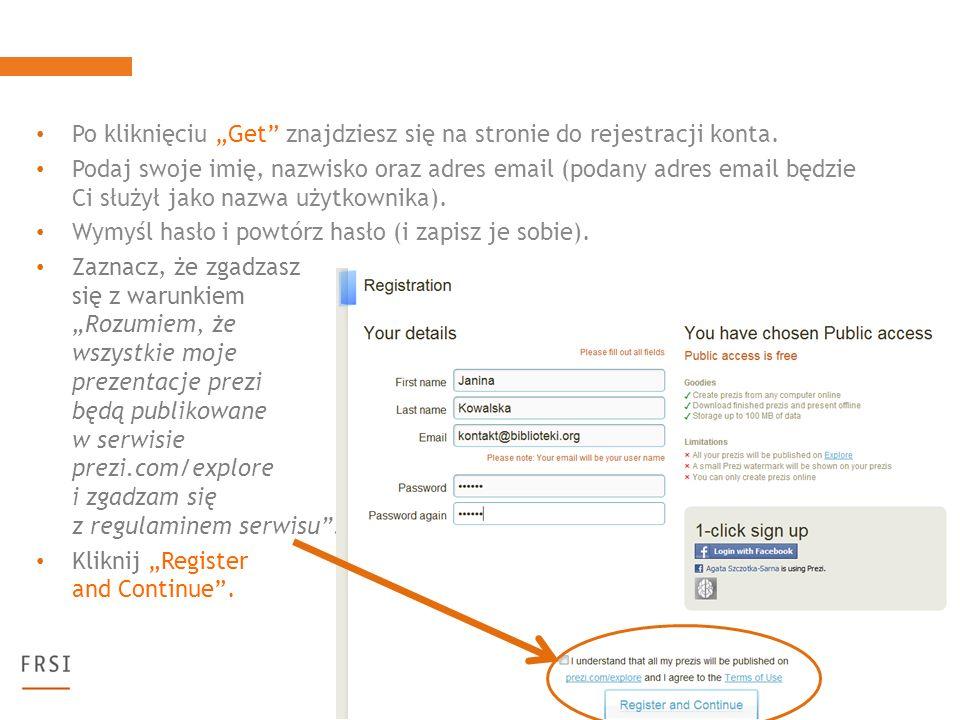 Po kliknięciu Get znajdziesz się na stronie do rejestracji konta.