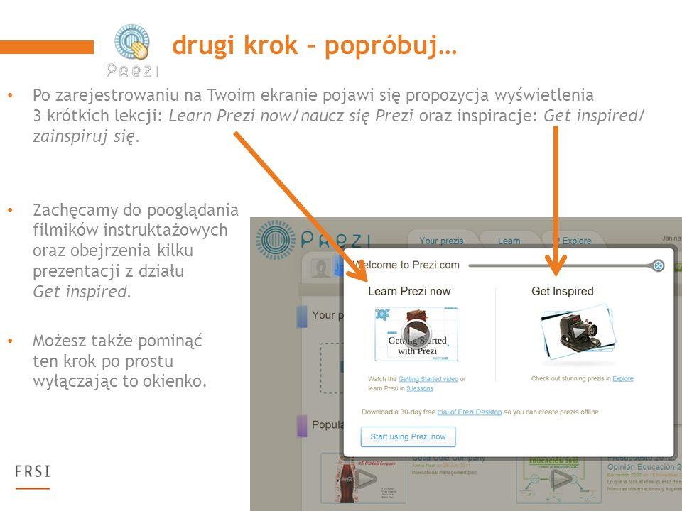 Tak wygląda Twoje konto do tworzenia prezi-prezentacji.