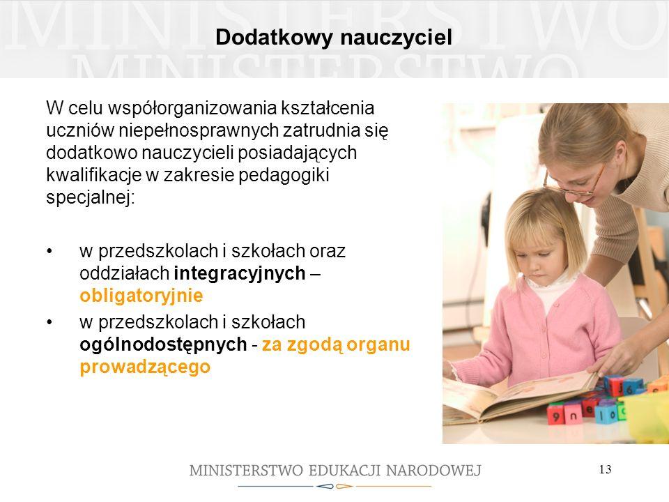 Dodatkowy nauczyciel W celu współorganizowania kształcenia uczniów niepełnosprawnych zatrudnia się dodatkowo nauczycieli posiadających kwalifikacje w
