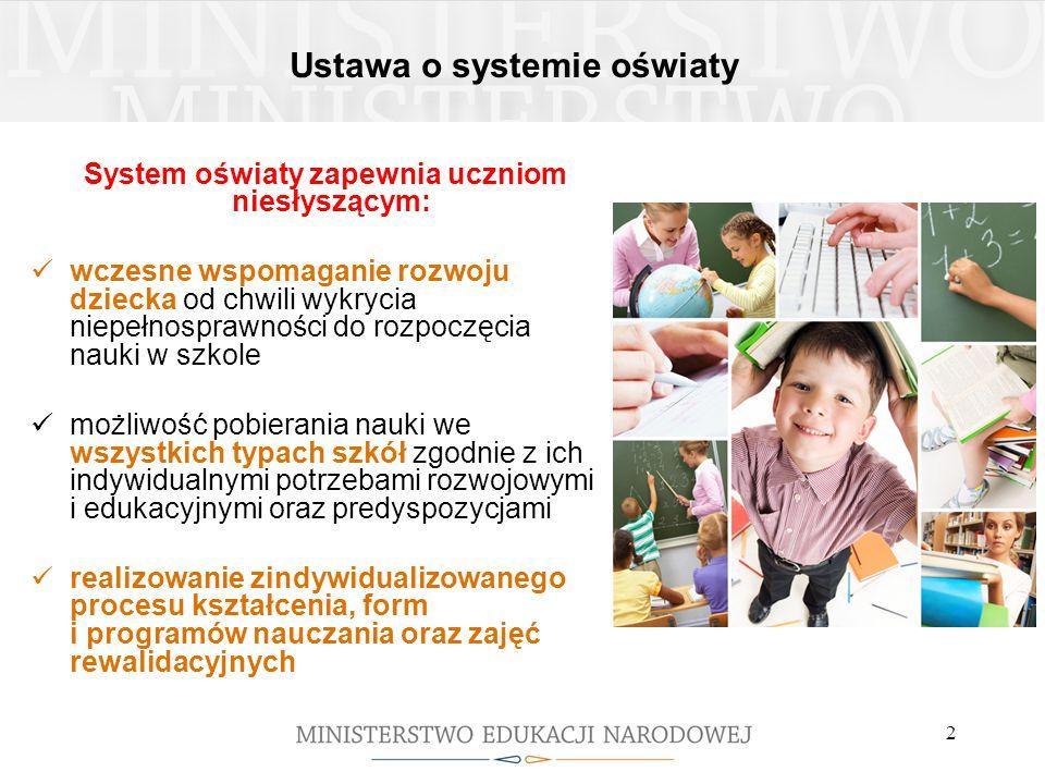 2 Ustawa o systemie oświaty System oświaty zapewnia uczniom niesłyszącym: wczesne wspomaganie rozwoju dziecka od chwili wykrycia niepełnosprawności do