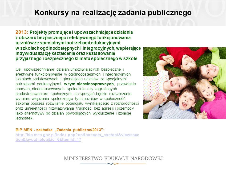 Konkursy na realizację zadania publicznego 2013: Projekty promujące i upowszechniające działania z obszaru bezpiecznego i efektywnego funkcjonowania u