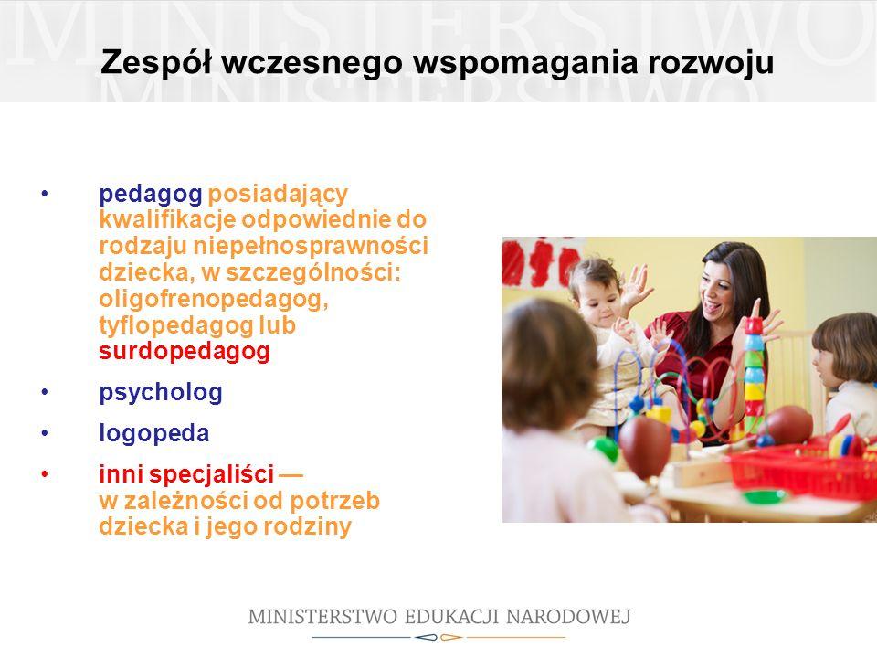 Zespół wczesnego wspomagania rozwoju pedagog posiadający kwalifikacje odpowiednie do rodzaju niepełnosprawności dziecka, w szczególności: oligofrenope