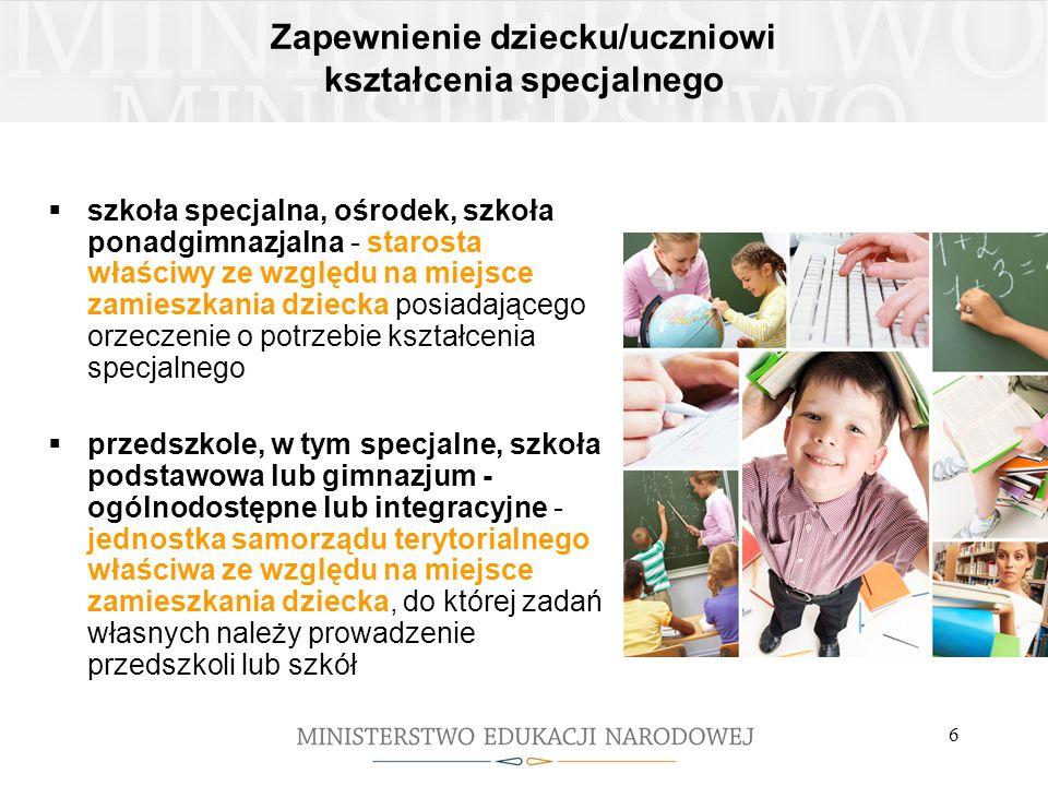 6 Zapewnienie dziecku/uczniowi kształcenia specjalnego szkoła specjalna, ośrodek, szkoła ponadgimnazjalna - starosta właściwy ze względu na miejsce za