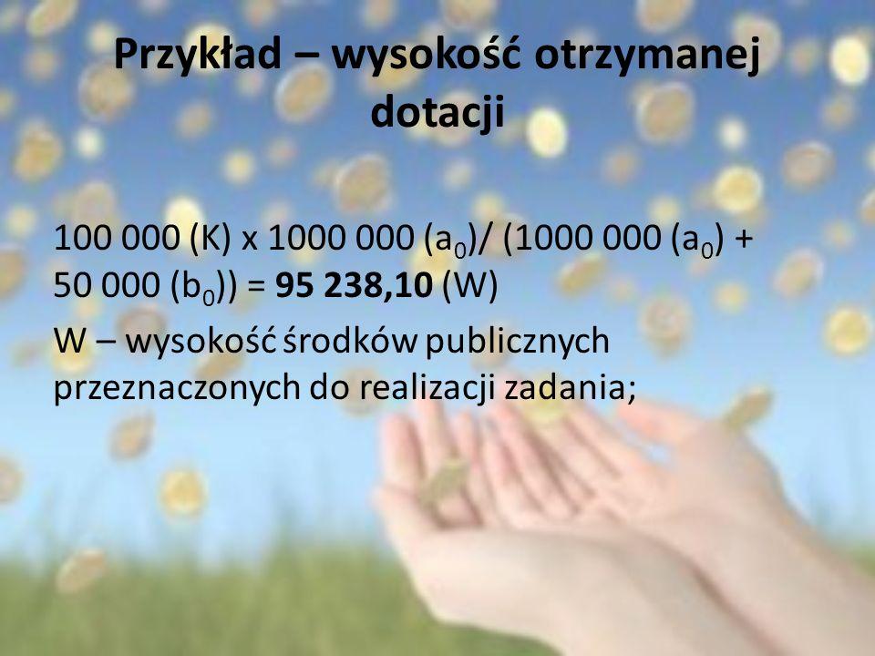 Przykład – wysokość otrzymanej dotacji 100 000 (K) x 1000 000 (a 0 )/ (1000 000 (a 0 ) + 50 000 (b 0 )) = 95 238,10 (W) W – wysokość środków publiczny