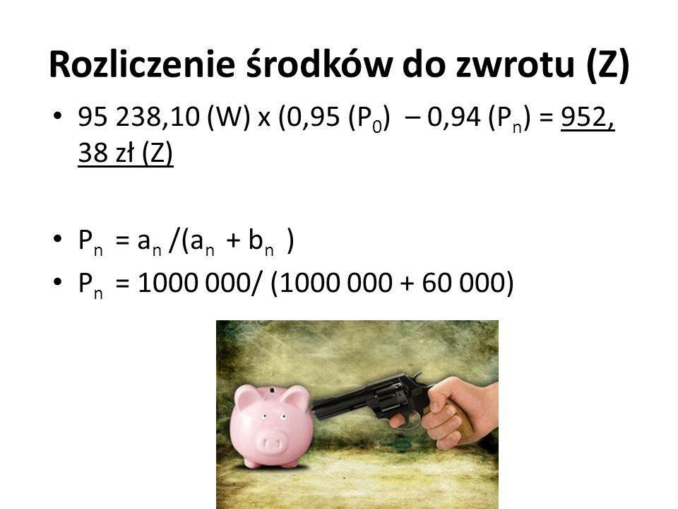 Rozliczenie środków do zwrotu (Z) 95 238,10 (W) x (0,95 (P 0 ) – 0,94 (P n ) = 952, 38 zł (Z) P n = a n /(a n + b n ) P n = 1000 000/ (1000 000 + 60 0