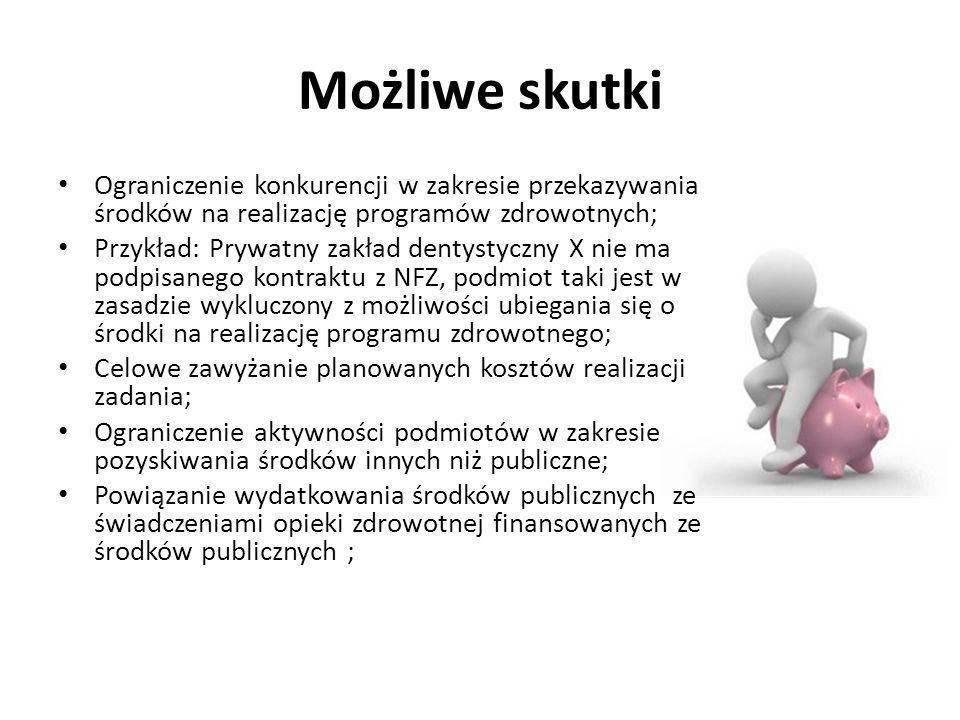 Możliwe skutki Ograniczenie konkurencji w zakresie przekazywania środków na realizację programów zdrowotnych; Przykład: Prywatny zakład dentystyczny X