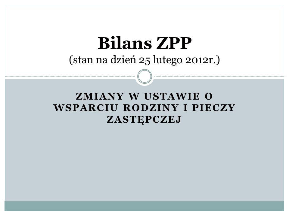 ZMIANY W USTAWIE O WSPARCIU RODZINY I PIECZY ZASTĘPCZEJ Bilans ZPP (stan na dzień 25 lutego 2012r.)