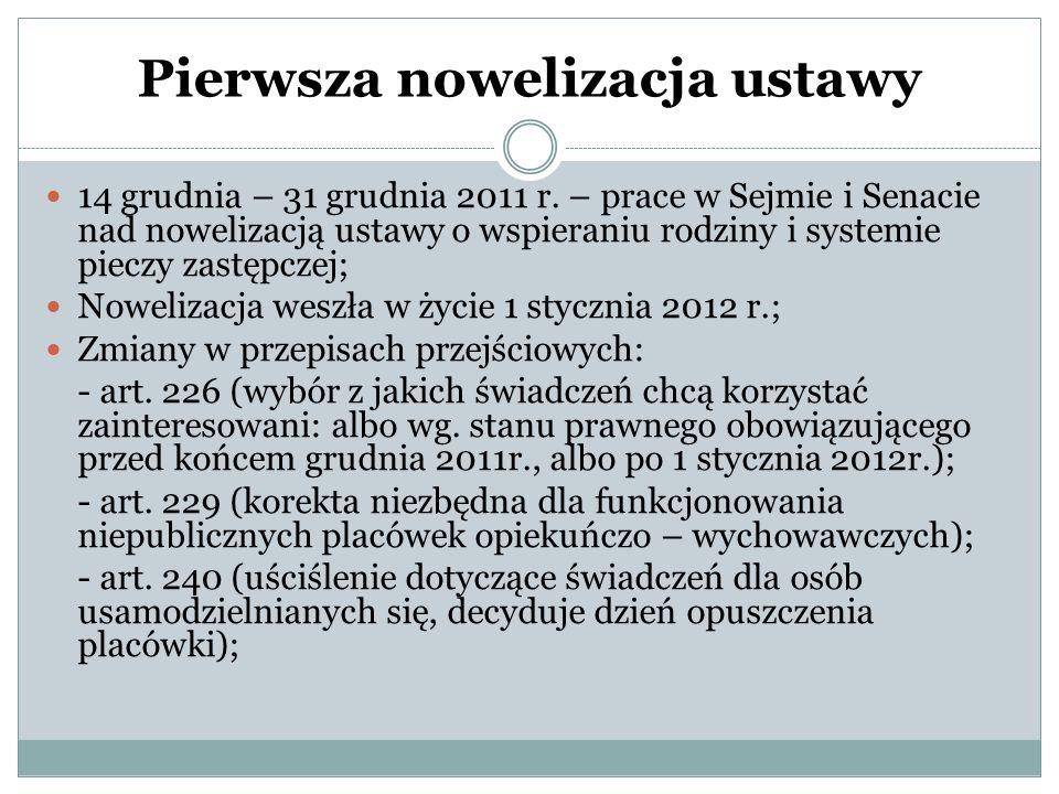 Pierwsza nowelizacja ustawy 14 grudnia – 31 grudnia 2011 r. – prace w Sejmie i Senacie nad nowelizacją ustawy o wspieraniu rodziny i systemie pieczy z