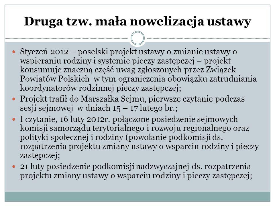 Druga tzw. mała nowelizacja ustawy Styczeń 2012 – poselski projekt ustawy o zmianie ustawy o wspieraniu rodziny i systemie pieczy zastępczej – projekt