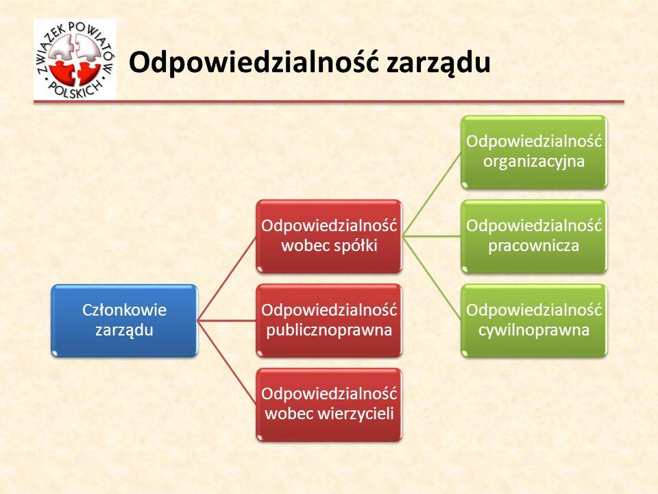Odpowiedzialność zarządu Członkowie zarządu Odpowiedzialność wobec spółki Odpowiedzialność organizacyjna Odpowiedzialność pracownicza Odpowiedzialność