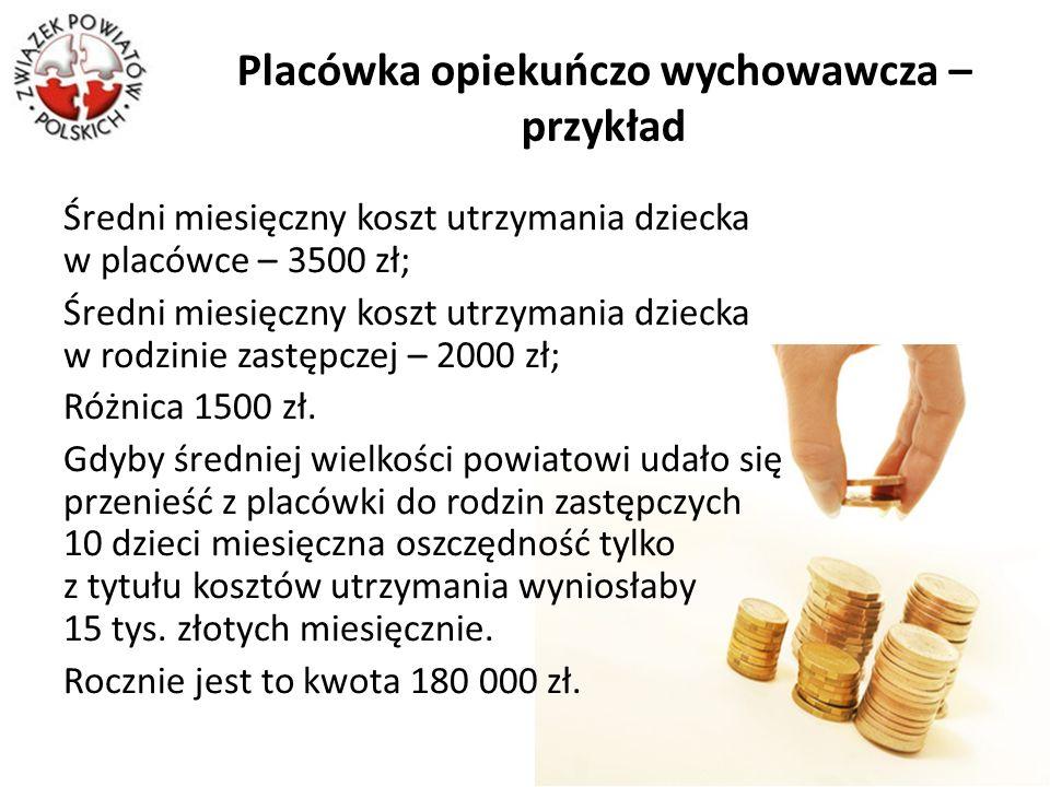 Placówka opiekuńczo wychowawcza – przykład Średni miesięczny koszt utrzymania dziecka w placówce – 3500 zł; Średni miesięczny koszt utrzymania dziecka