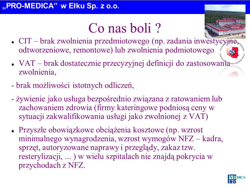 PRO-MEDICA w Ełku Sp. z o.o. Co nas boli ? CIT – brak zwolnienia przedmiotowego (np. zadania inwestycyjne, odtworzeniowe, remontowe) lub zwolnienia po