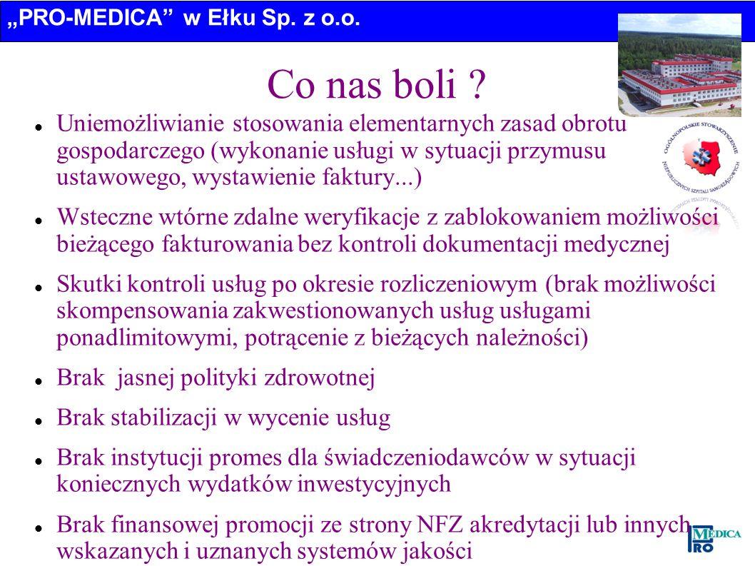 PRO-MEDICA w Ełku Sp. z o.o. Co nas boli ? Uniemożliwianie stosowania elementarnych zasad obrotu gospodarczego (wykonanie usługi w sytuacji przymusu u