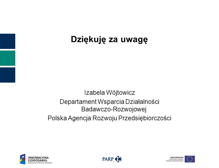 Dziękuję za uwagę Izabela Wójtowicz Departament Wsparcia Działalności Badawczo-Rozwojowej Polska Agencja Rozwoju Przedsiębiorczości