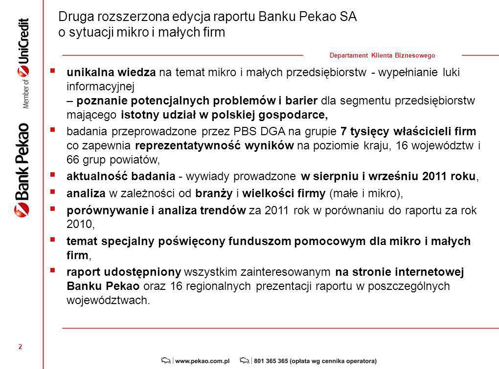 2 Departament Klienta Biznesowego unikalna wiedza na temat mikro i małych przedsiębiorstw - wypełnianie luki informacyjnej – poznanie potencjalnych problemów i barier dla segmentu przedsiębiorstw mającego istotny udział w polskiej gospodarce, badania przeprowadzone przez PBS DGA na grupie 7 tysięcy właścicieli firm co zapewnia reprezentatywność wyników na poziomie kraju, 16 województw i 66 grup powiatów, aktualność badania - wywiady prowadzone w sierpniu i wrześniu 2011 roku, analiza w zależności od branży i wielkości firmy (małe i mikro), porównywanie i analiza trendów za 2011 rok w porównaniu do raportu za rok 2010, temat specjalny poświęcony funduszom pomocowym dla mikro i małych firm, raport udostępniony wszystkim zainteresowanym na stronie internetowej Banku Pekao oraz 16 regionalnych prezentacji raportu w poszczególnych województwach.