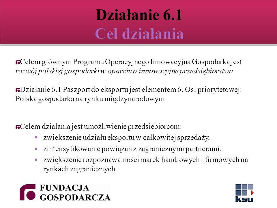 Celem głównym Programu Operacyjnego Innowacyjna Gospodarka jest rozwój polskiej gospodarki w oparciu o innowacyjne przedsiębiorstwa Działanie 6.1 Paszport do eksportu jest elementem 6.