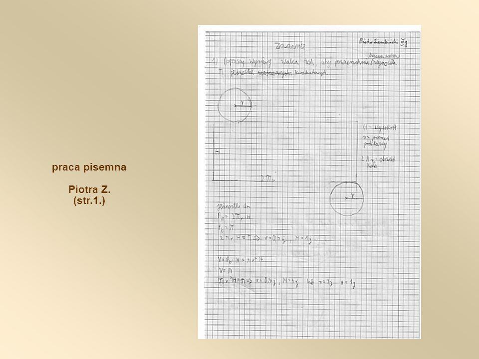 praca pisemna Piotra Z. (str.1.)