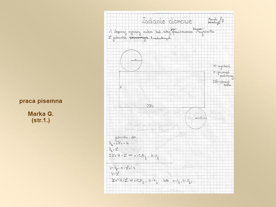 praca pisemna Marka G. (str.1.)