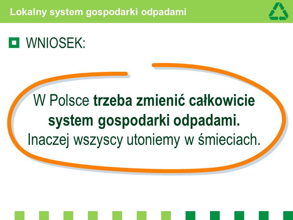 Lokalny system gospodarki odpadami WNIOSEK: W Polsce trzeba zmienić całkowicie system gospodarki odpadami. Inaczej wszyscy utoniemy w śmieciach.