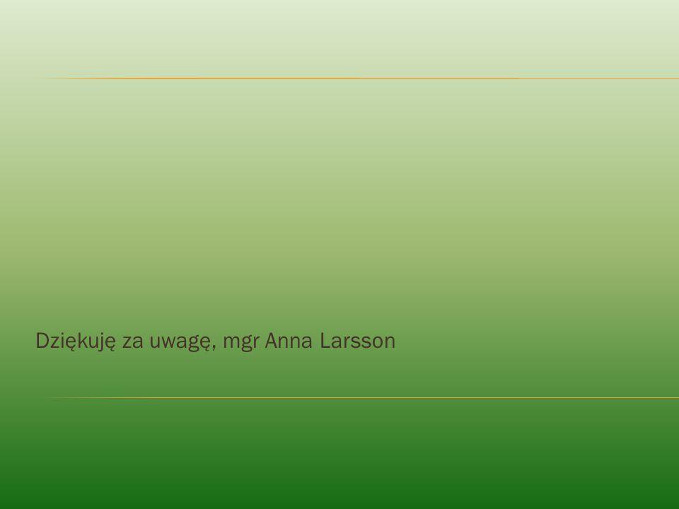Dziękuję za uwagę, mgr Anna Larsson