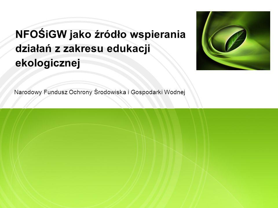 Zakres prezentacji Edukacja ekologiczna a działalność NFOŚiGW Podsumowanie działalności w 2009 r.